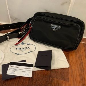 Prada Studded Leather Nylon Belt Bag/Fanny Pack